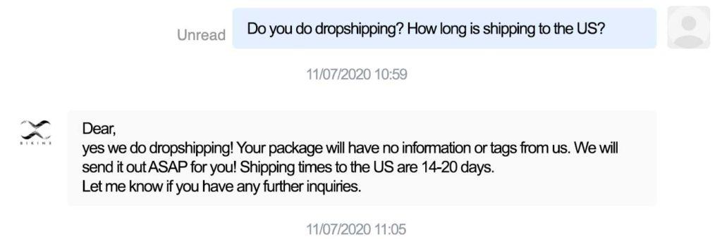 voorbeeld conversatie met een aliexpress leverancier voor een dropshipping overeenkomst