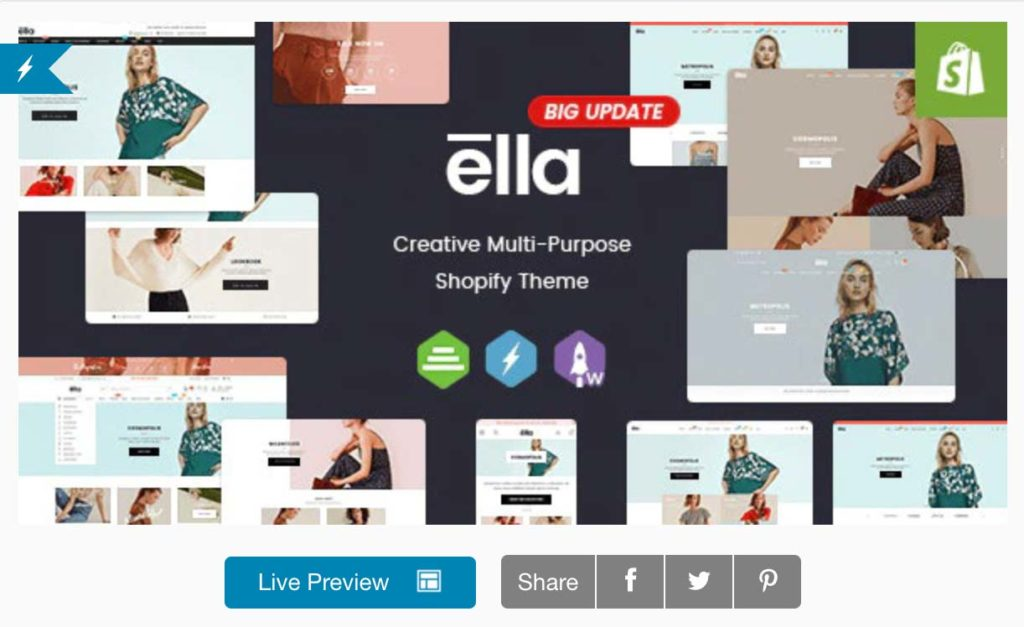 Ella theme is het beste multi-purpose theme voor shopify
