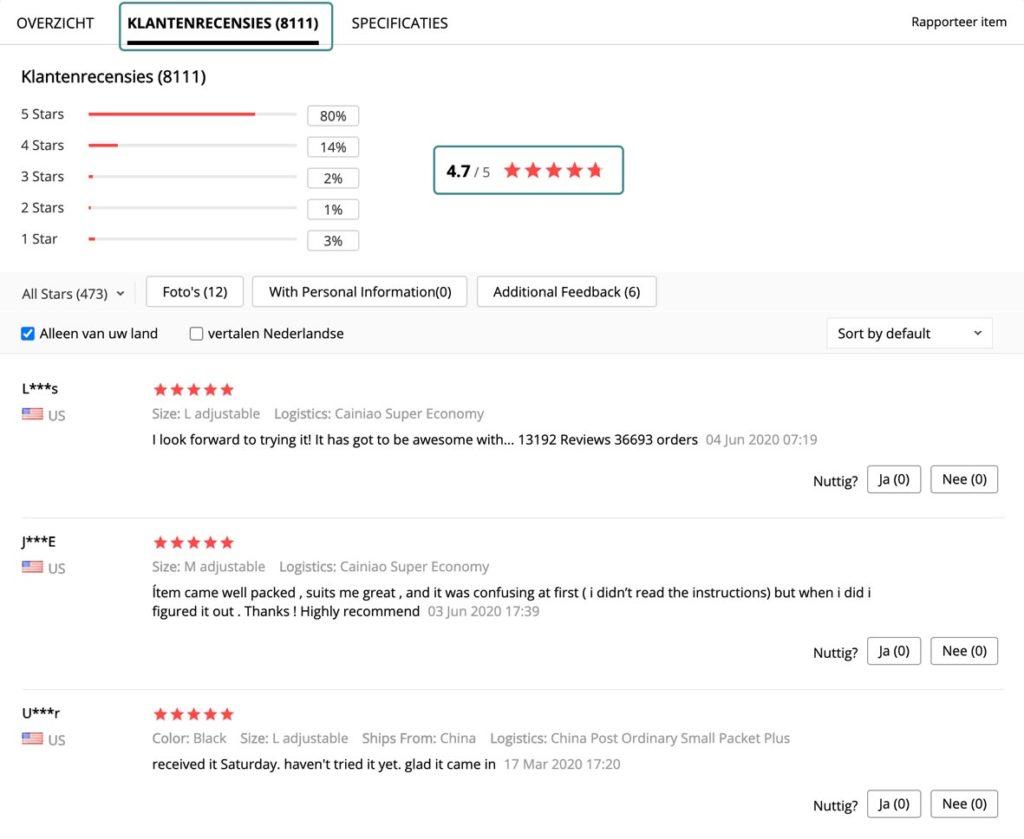 Om de kwaliteit van jouw aliexpress leverancier te checken kan je gaan kijken bij de individuele klantenrecensies